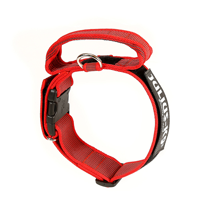 Julius K9 Color and Gray collar with closable handle in red