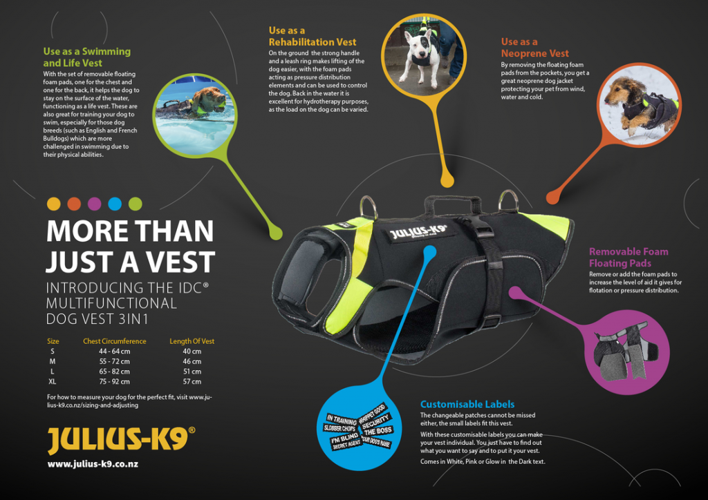 IDC Multifunctional Dog Vest 3in1 features and size guide