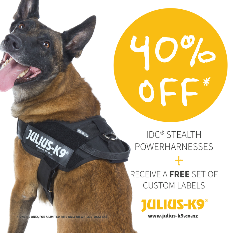 German Shepard wearing IDC Stealth Powerharness that is 40% off and a free set of custom labels