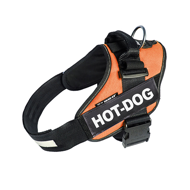 Hot-Dog custom label on orange Powerharness