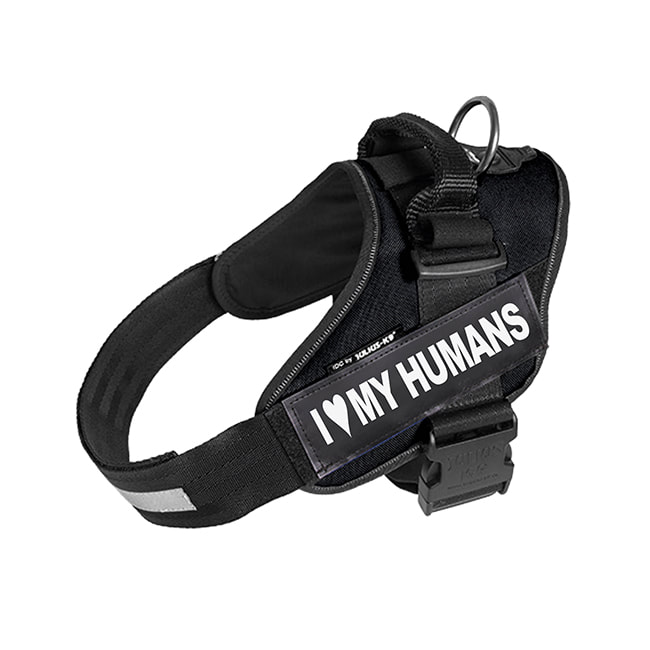 I Heart My Humans custom label on black Powerharness