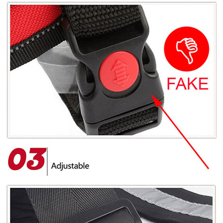Fake buckle has no logo or buckle with different symbols
