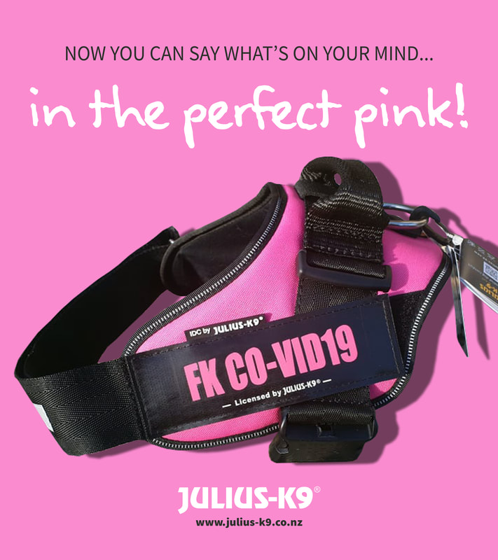 FK Co-Vid19 Custom Label with pink text on pink harness