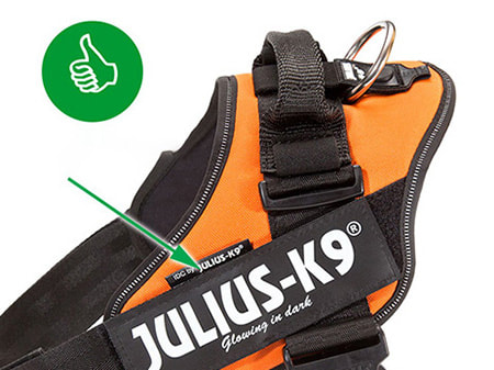 The real deal has the small Julius-K9 logo above Custom Label