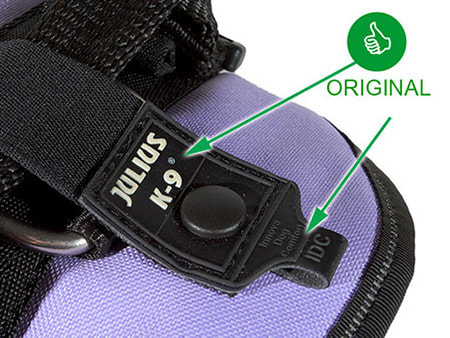 Real logo is stitched onto harness