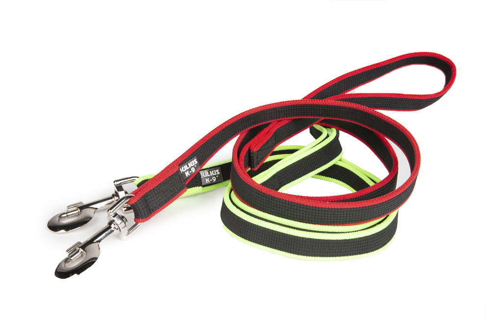 The Premium Jogging leash in red and neon