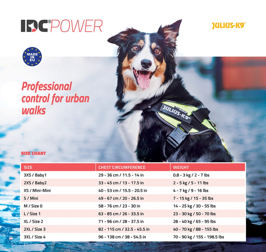 Size chart for the IDC Power harness