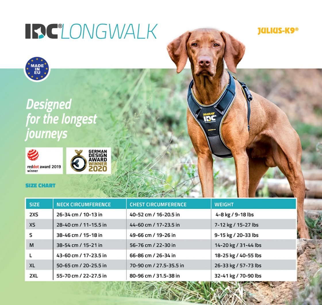 Size chart for the IDC Longwalk harness